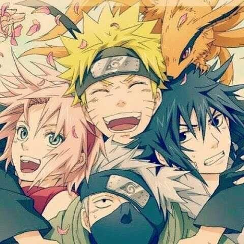 Team 7: Sakura Haruno (Pink hair), Naruto Uzumaki (Blonde hair), Sasuke Uchiha (Black hair) and Kakashi-sensei (Silver hair)