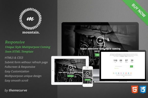 Mountain Responsive Coming Soon Website Template Design Subscription Form Website Template