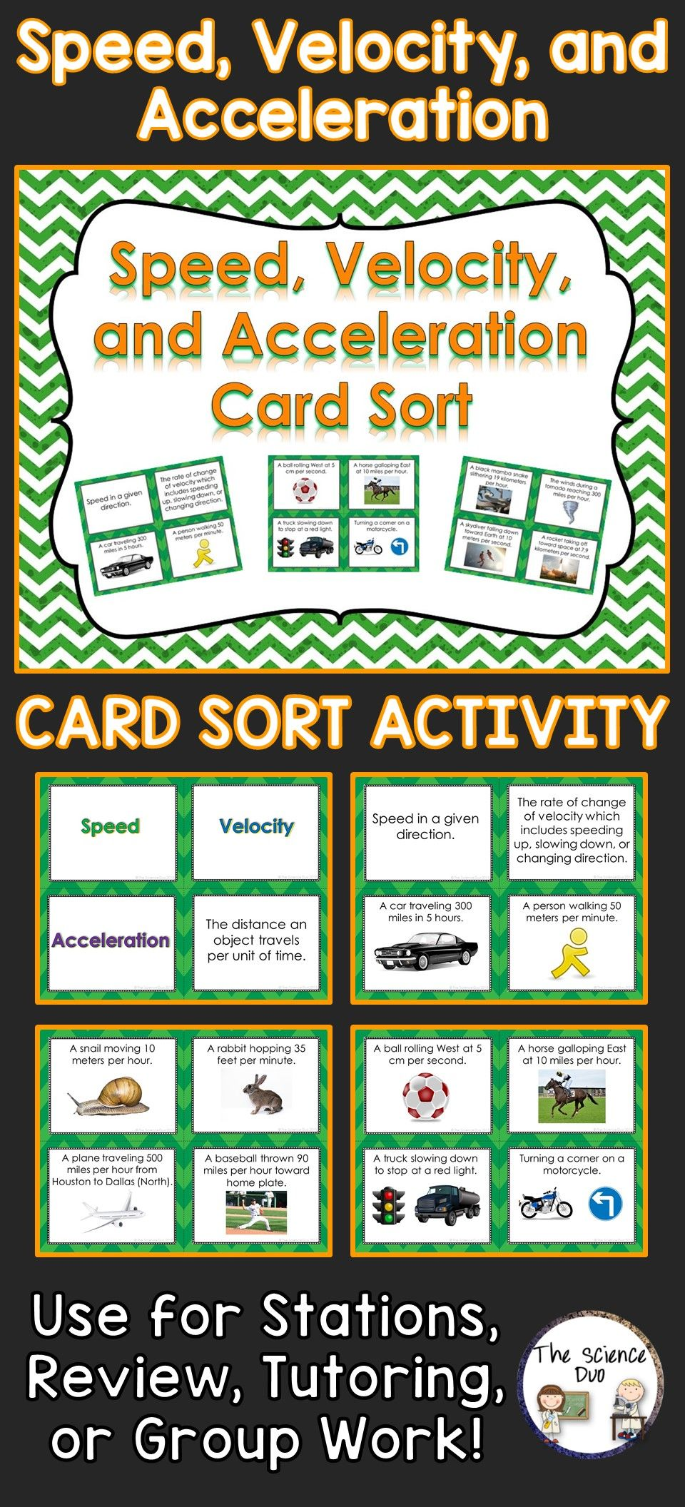 Speed Velocity And Acceleration Card Sort Sorting Cards Middle School Physics Middle School Science Teacher