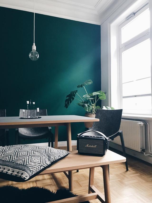 Wow diese dunkelgrne Wandfarbe lieben wir skandistyle