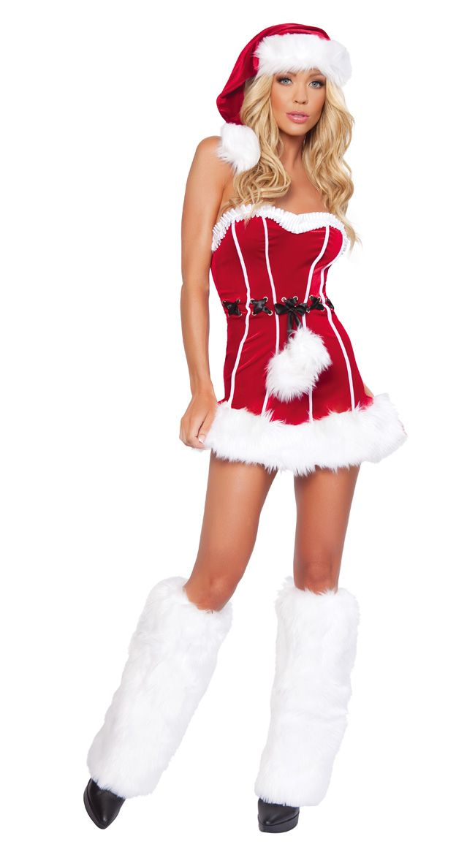 Sexy Naughty Santa Mini Dress Adult Women Christmas Costumes Father