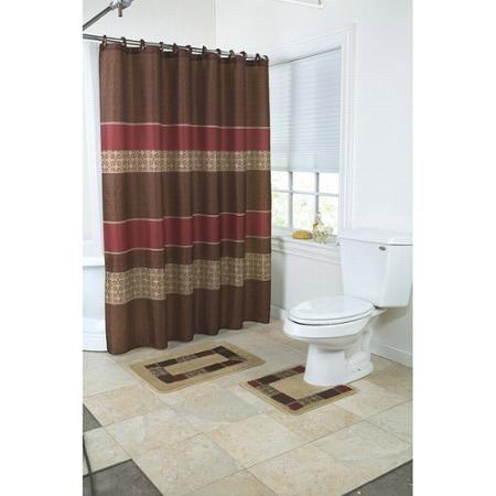 Mainstays Medici 15 Piece Bath Set Walmart Com Bathroom Sets Blue Bathroom Accessories Bathroom Shower Curtain Sets