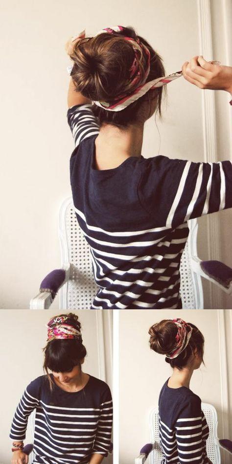 1001 Inspirierende Ideen Fur Coole Bandana Frisuren Mit Bildern Frisuren Mit Bandana Dutt Frisur Mit Duttkissen Dutt Frisur