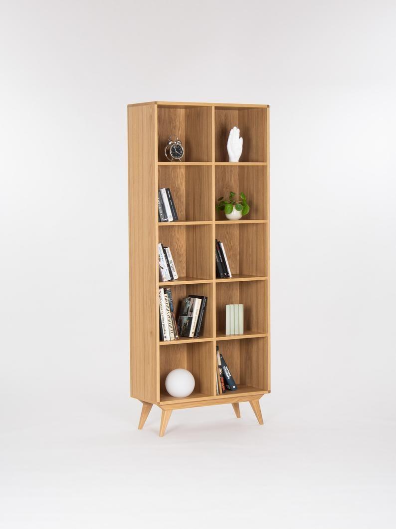Bookcase Bookshelf Mid Century Modern Scandinavian Shelf Unit Made Of Oak Wood In 2020 Scandinavian Shelves Shelf Unit Bookcase