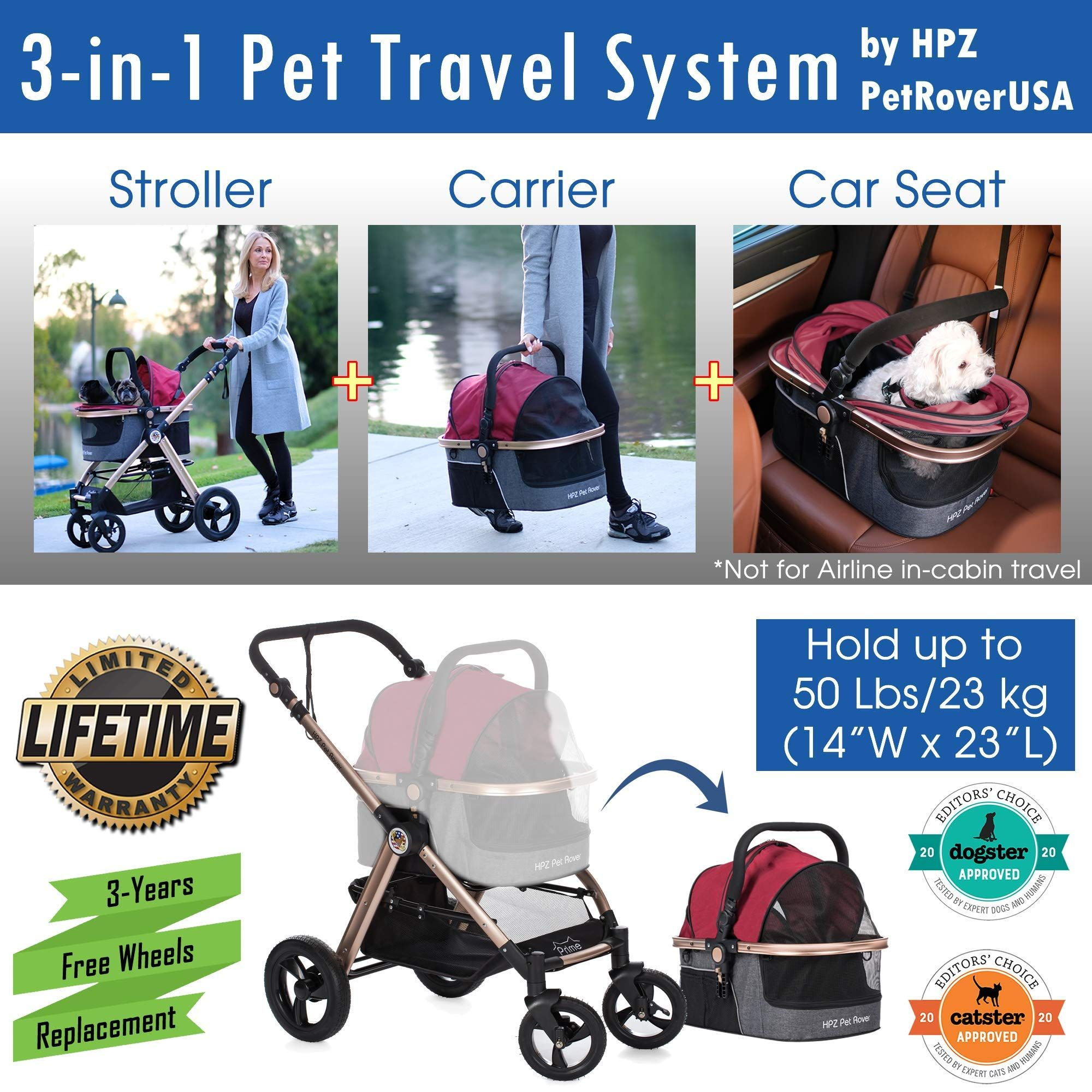 Hpz Pet Rover Prime 3 In 1 Luxury Dog Cat Pet Stroller Travel Carrier Car Seat Stroller W Detach Carrier Pump Free In 2020 With Images Pet Stroller Luxury Dog Travel Stroller