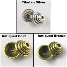 35Pcs Tibetan Silver Gold Bronze Tone Spiral End Bead Caps 10mm Craft DIY P823