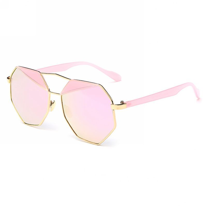 Geometric Octagon-Frame Polarized Pilot Sunglasses Gold/Pink