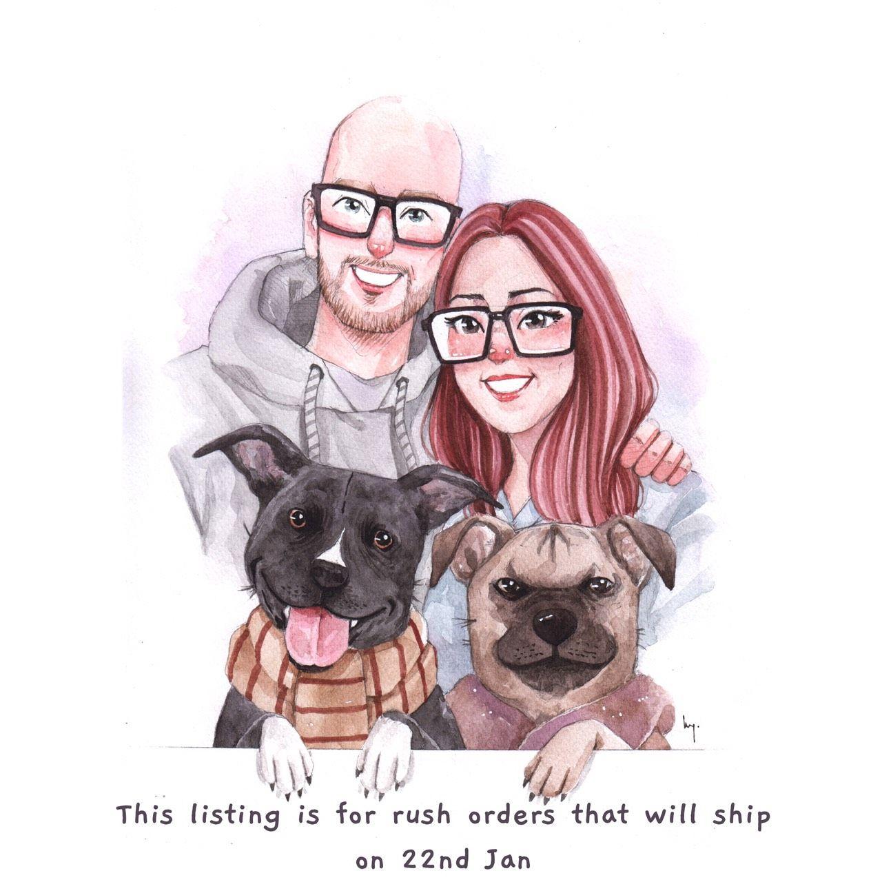 Anniversary Gift Digital Art File Christmas Gift For Him Pet Memorial For Her Housewarming Gift Custom Family Portrait