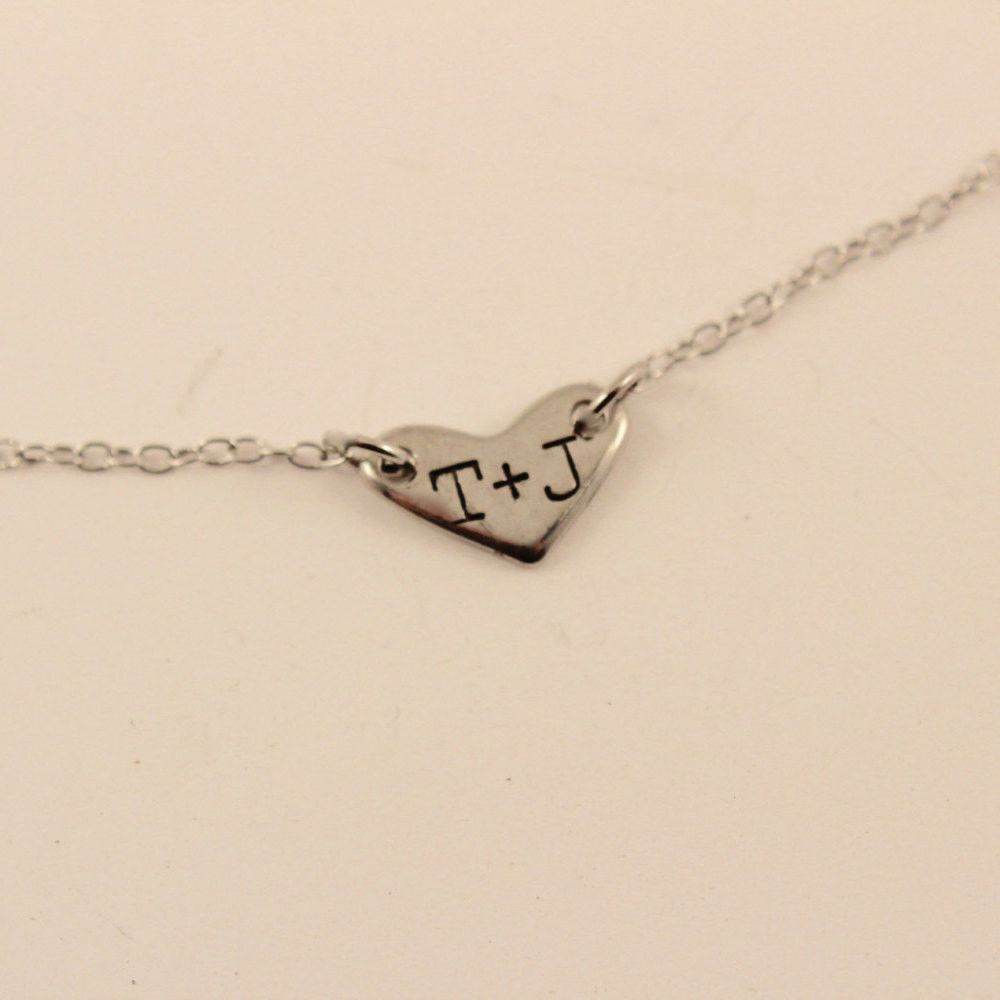 Small Metal Initials Heart With Hand Stamped Initials Necklace  16  Support Small