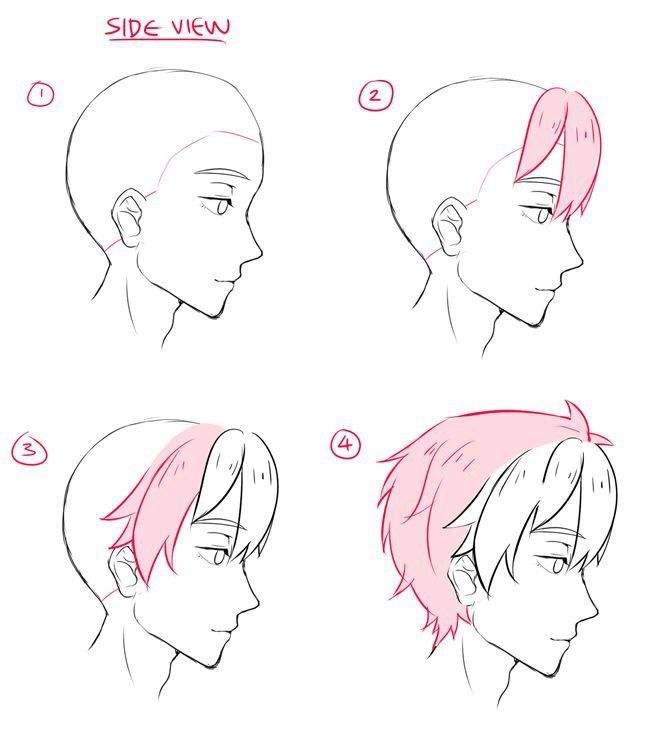 Side View Hair Reference Anime Drawings Tutorials Drawing Tutorial Cartoon Drawings