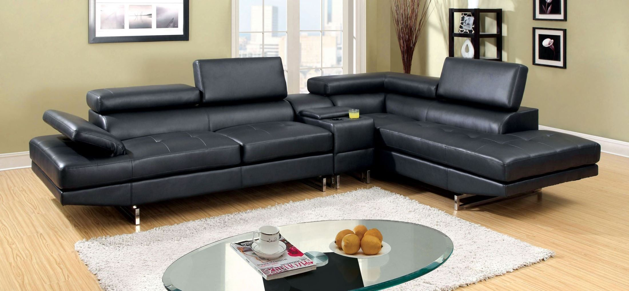 Kemi Black Bonded Leather Sectional Chaparral