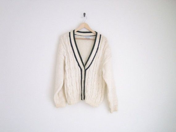 sale - vintage cream knitted cardigan / collegiate cable knit sweater / grandpa cardigan