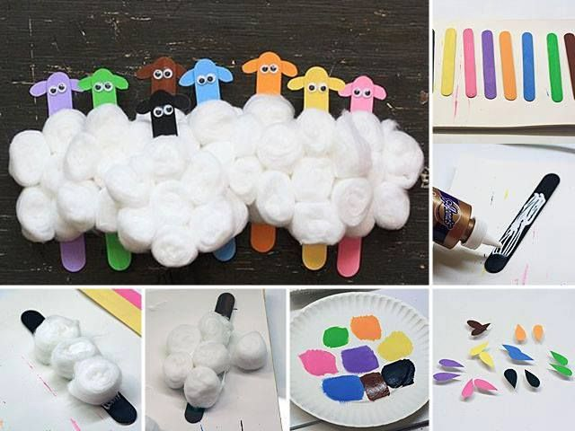Sheep made with ice creams sticks and cotton wool