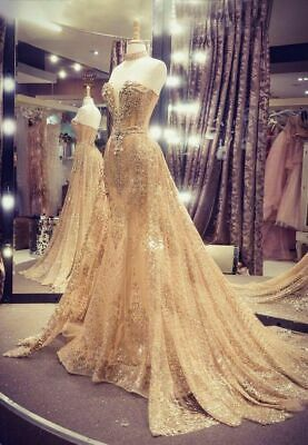 Gold Sparkling Mermaid Evening Prom Party Dress Celebrity Gown Detachable Train | eBay