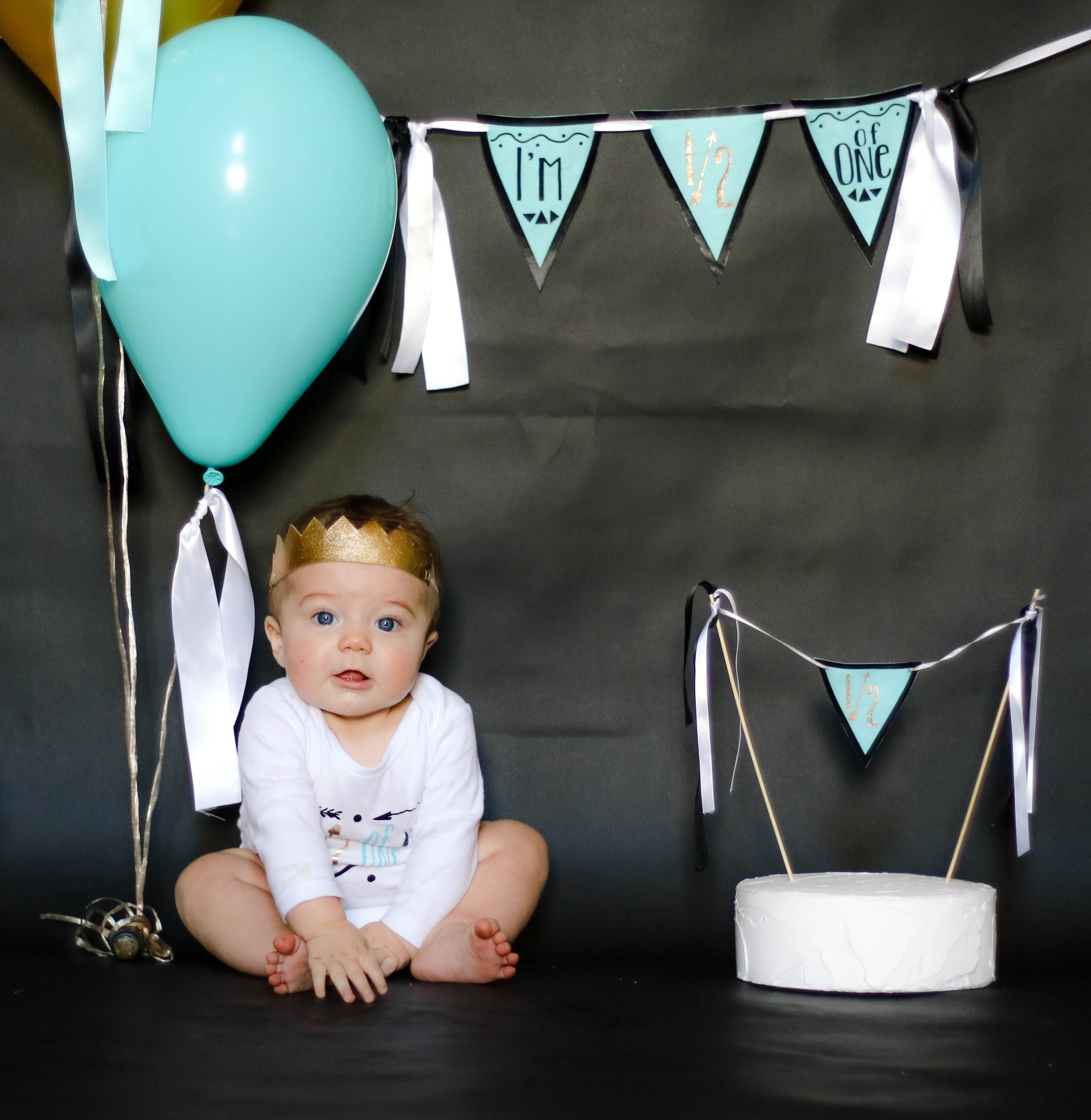 374e558f Half Birthday celebration! Celebrate your baby boy's six month 1/2 birthday  with this perfectly coordinated outfit and decoration set in gold, black,  ...