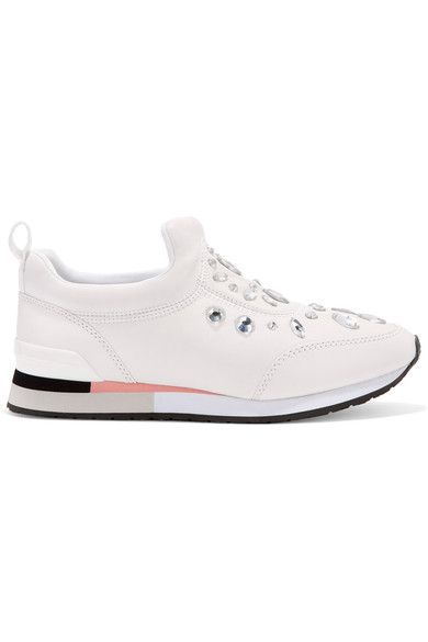 2156d8241716 TORY BURCH Laney crystal-embellished leather sneakers.  toryburch  shoes   sneakers