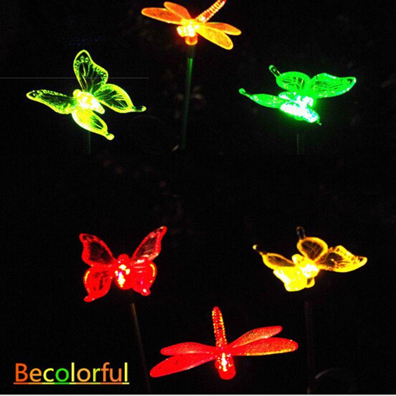 Garden Decoration Solar Butterfly Dragonfly Bird Garden Outdoor Decorative  LED Lamp Landscape Lights Digital Guru Shop