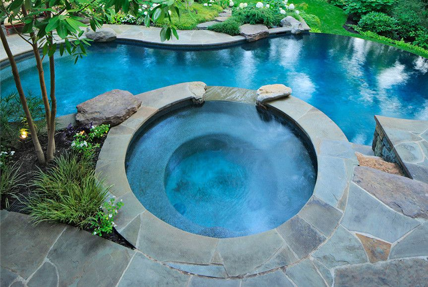 Swimming Pools With Hot Tub Swimming Pools And Hot Tubs When It Comes To Swimming Pools And Hot Pool Landscaping Backyard Pool Hot Tub Outdoor