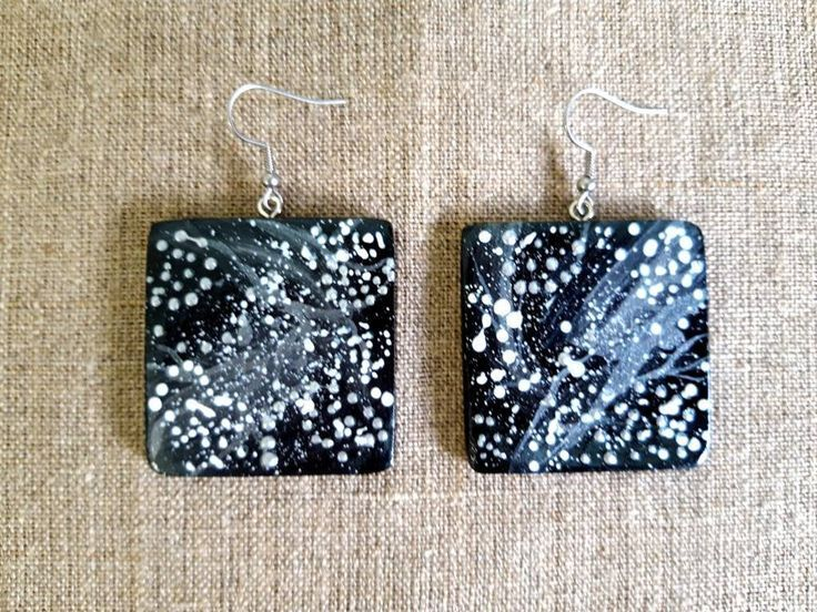 Galaxy earrings Celestial earrings Wood earrings Square Earrings Wood jewelry Space earringsOriginal Jewelry  Excited to share the latest addition to my shop Galaxy earri...