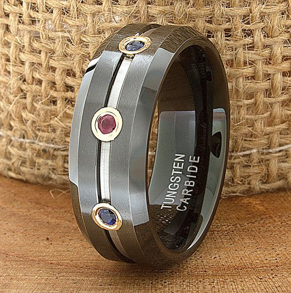 Ruby Sapphire Tungsten Wedding Band Ring Flat Beveled Customized Laser Engraved Mens Design Modern