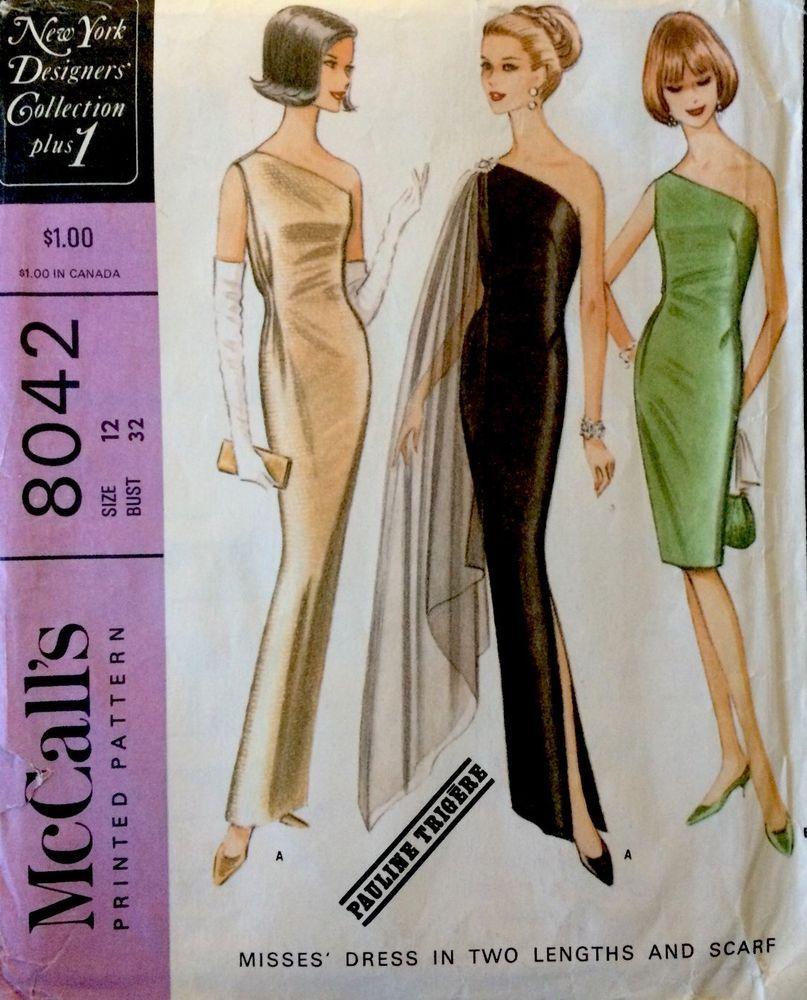 1960\'s Vintage Long Evening Dress PAULINE TRIGERE McCalls Sewing ...