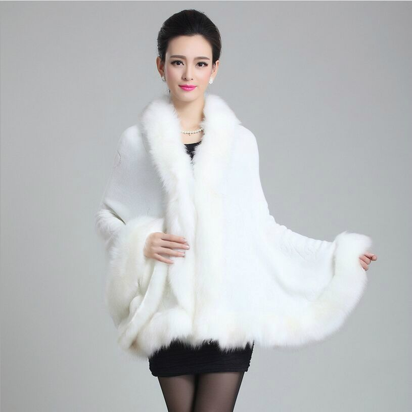 cape  Knitted Real Mink Fur Poncho Winter Warm Pullover Popular Coats Parka