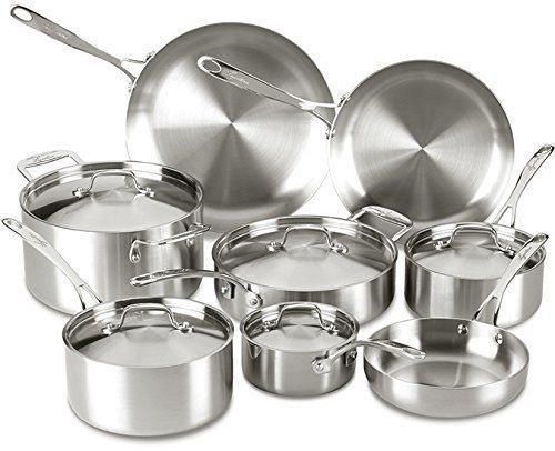Cookware Set Stainless Steel Dishwasher Safe Oven Safe 13 Piece Silver Pentole Stoviglie