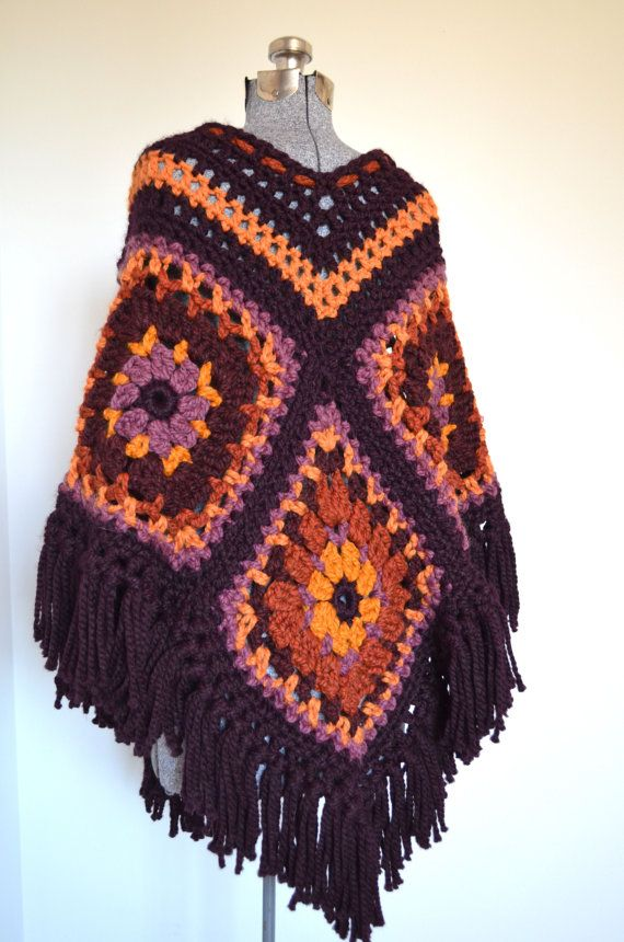 70s Crocheted Afghan Poncho Chunky Granny Squares By Picassomuse