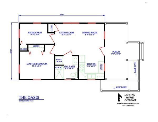 The Oasis 600 Sq Ft Wheelchair Friendly Home Plans Small House Plans Tiny House Plans Cottage Floor Plans