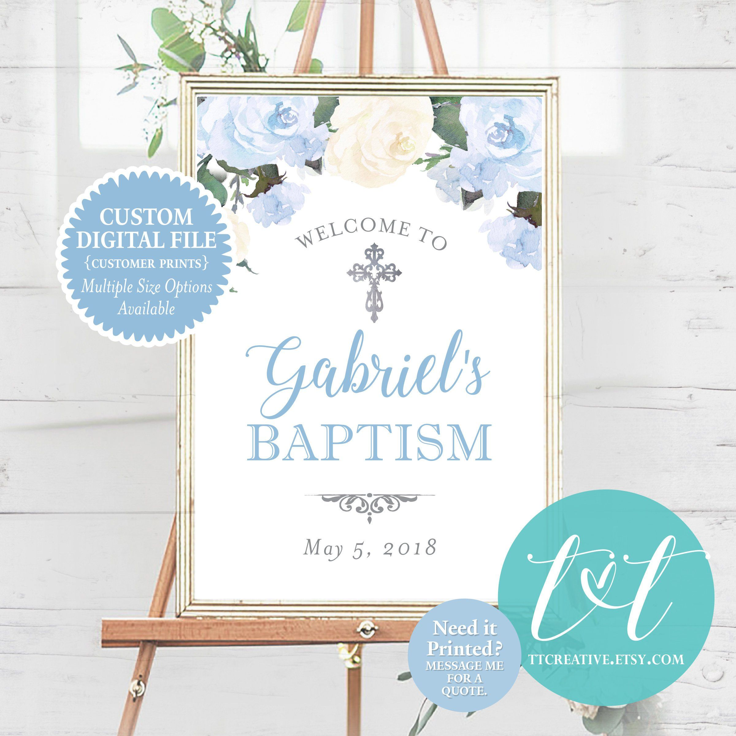 PERSONALISED chalkboard vintage style Christening sign poster PRINTABLE ONLY