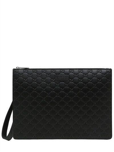 f6f192cb86d0 GUCCI Gg Signature Leather Clutch, Black. #gucci #bags #leather #clutch  #lace #hand bags #