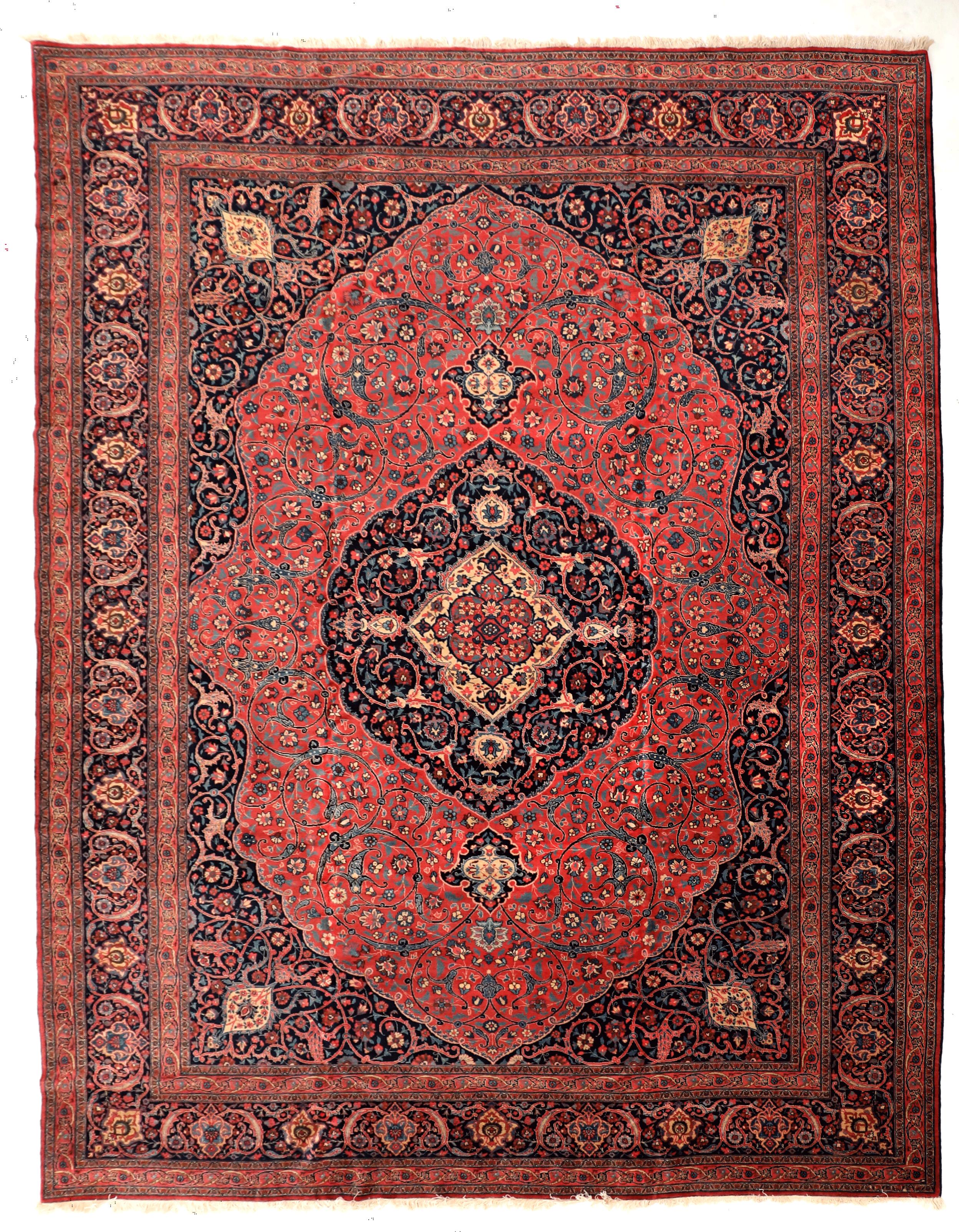 Antique Red Indigo Pink And Cream Traditional Persian Tabriz Carpet In Arabesque Design 12 X 14 In 2020 Antique Persian Carpet Persian Carpet Rugs On Carpet
