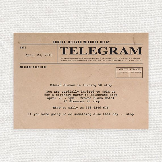 Wedding Invitations Old Fashioned: Telegram Printable Birthday Invitation Digital File