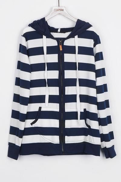 These stripes are good at what they do. Product Code: CSY370 Details: Stripe printing Drawstring hooded design Zip&Pocket at front Comfy and soft Regular wa