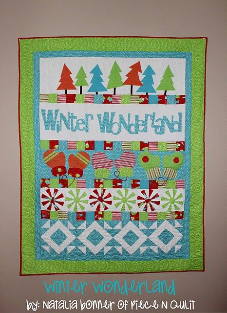 winter wonderland quilt--cute, I would love to see it with more traditional red/green tones.