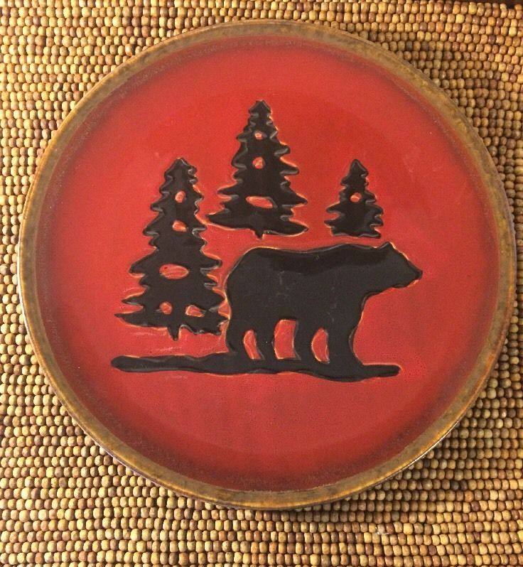 Home Studio Woodland Hand Painted Red Brown Bear Trees