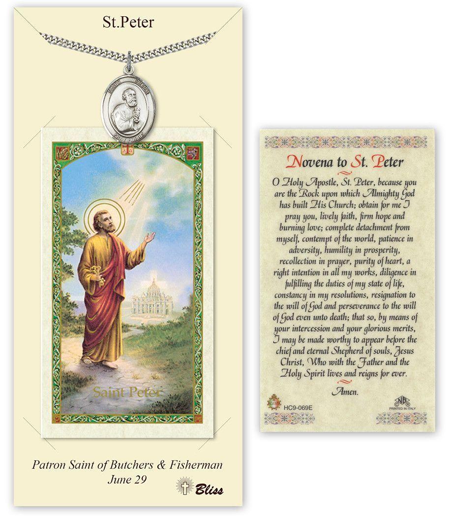 St peter the apostle pendant novena holy prayer card gift set by bliss catholic patron saint prayer card pendant sets st peter the apostle patron saint pendant aloadofball Images