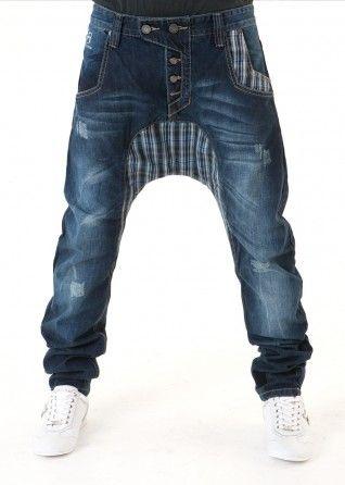 ce13a54381 FDP Check Low Crotch Jeans Pantalones Cagados
