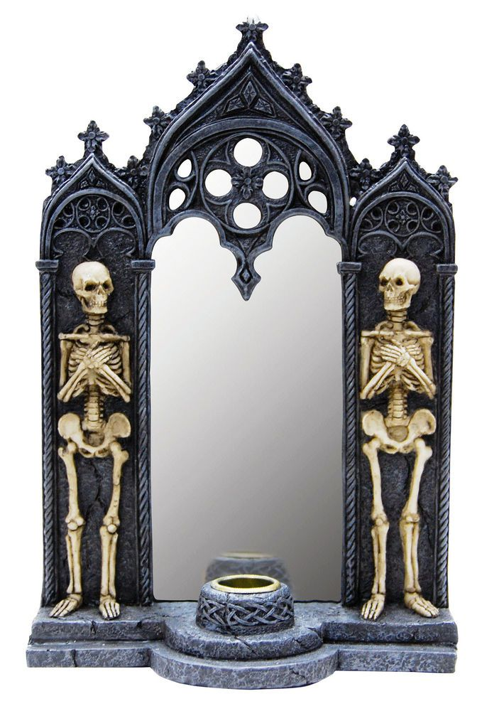Haunted House Skull Skeleton Tabletop Desk Mirror Candle Holder Decor Decoration
