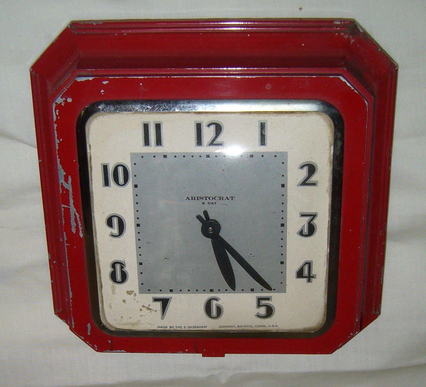Antique E Ingraham Aristocrat Red Art Deco Metal Fix Key Wind Kitchen Wall  Clock