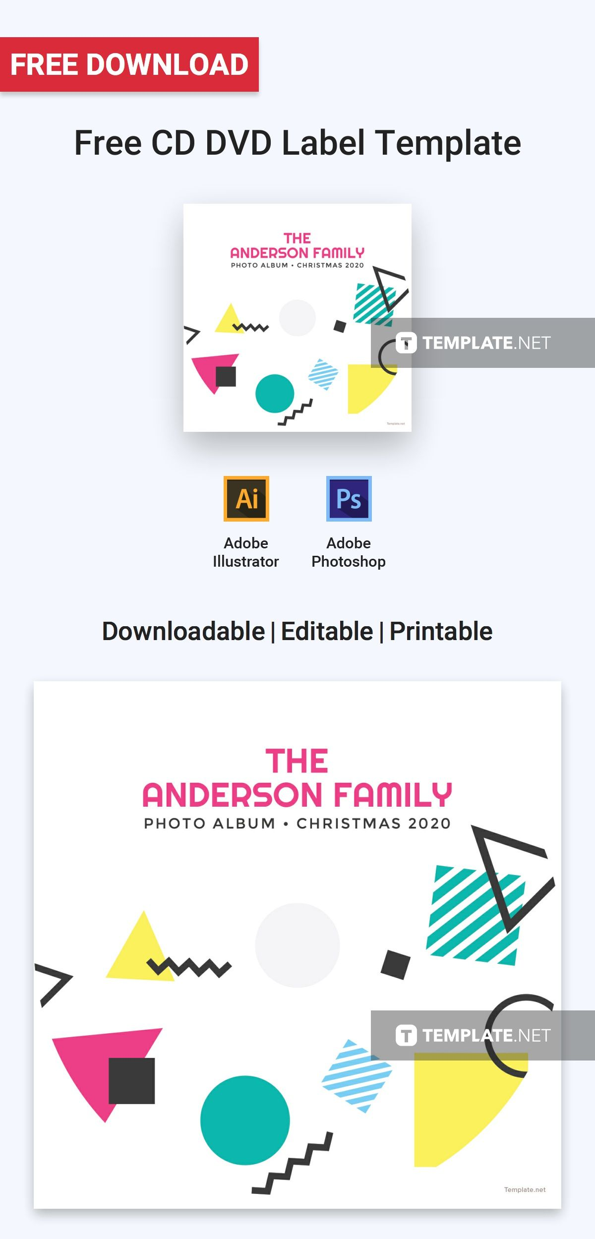 Free CD DVD Label | Label templates, Template and Photoshop illustrator