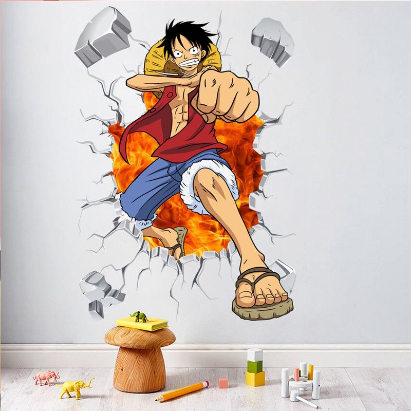 Cartoon one piece posters anime luffy effect wall stickers for kids rooms wall decals children home decor
