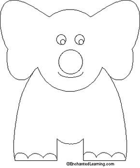 Letter E = Elephant. We colored in elephant finger puppets