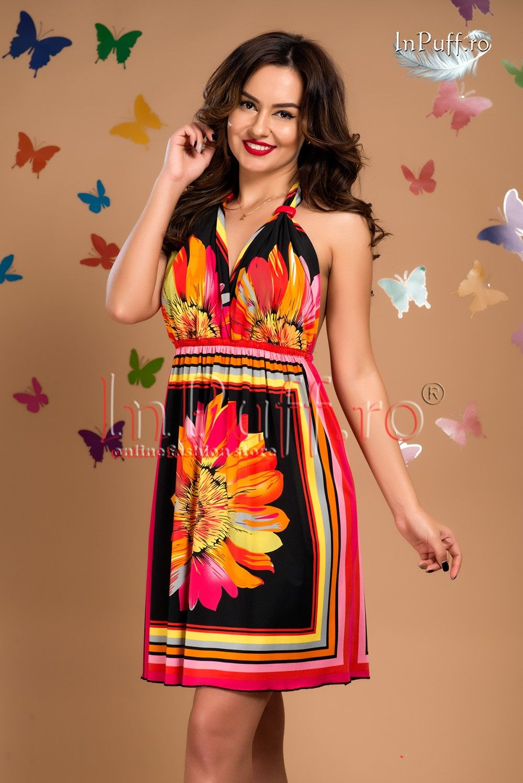 rochie de vara imprimeu colorat magazin online haine de dama rochii de ocazie inpuff ro fashion dresses strapless dress rochie de vara imprimeu colorat