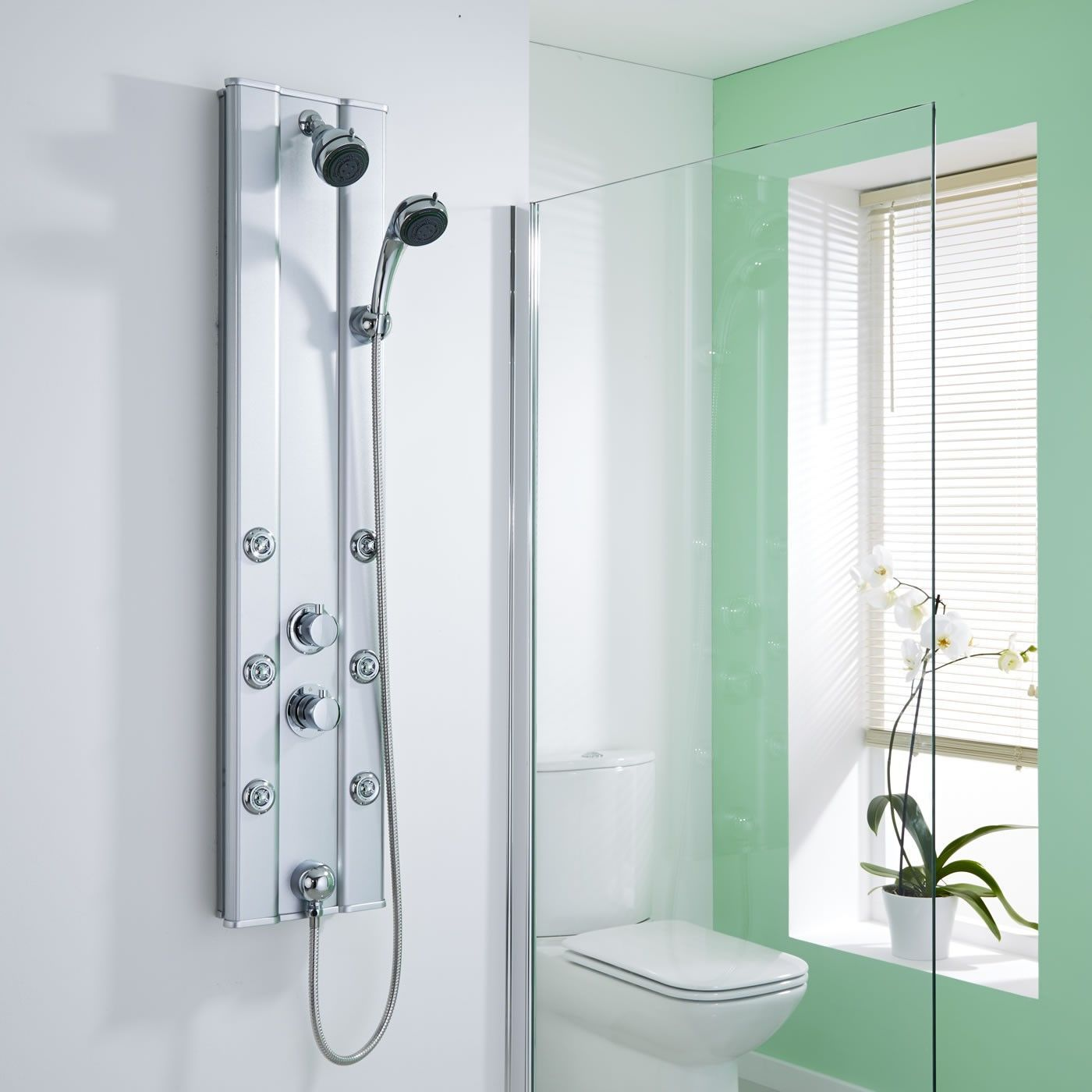 Create a contemporary look with this thermostatic shower panel