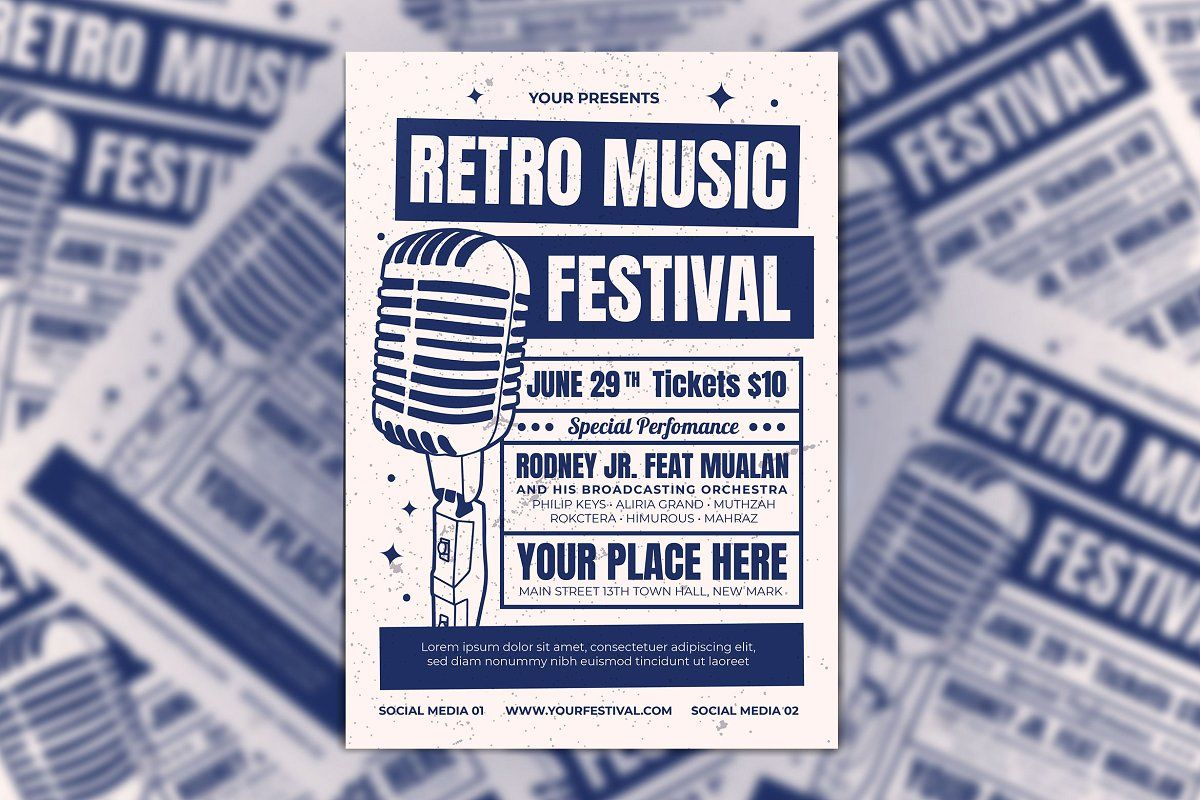 Groovy party in 2020 retro music poster template flyer