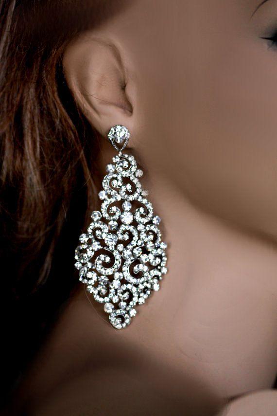 Big bridal earrings swarovski crystal earrings by simplychic93 big bridal earrings swarovski crystal earrings by simplychic93 aloadofball Image collections