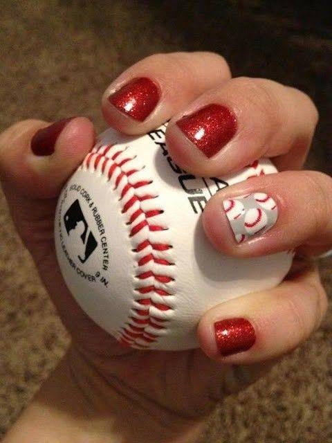 Baseball nail art - Happy Opening Day! Here Are 10 Cute Baseball Nail Art Ideas