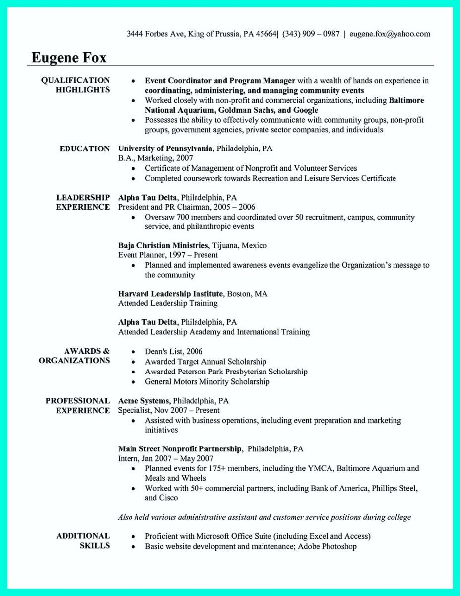 cool Attractive but Simple Catering Manager Resume Tricks, Check ...