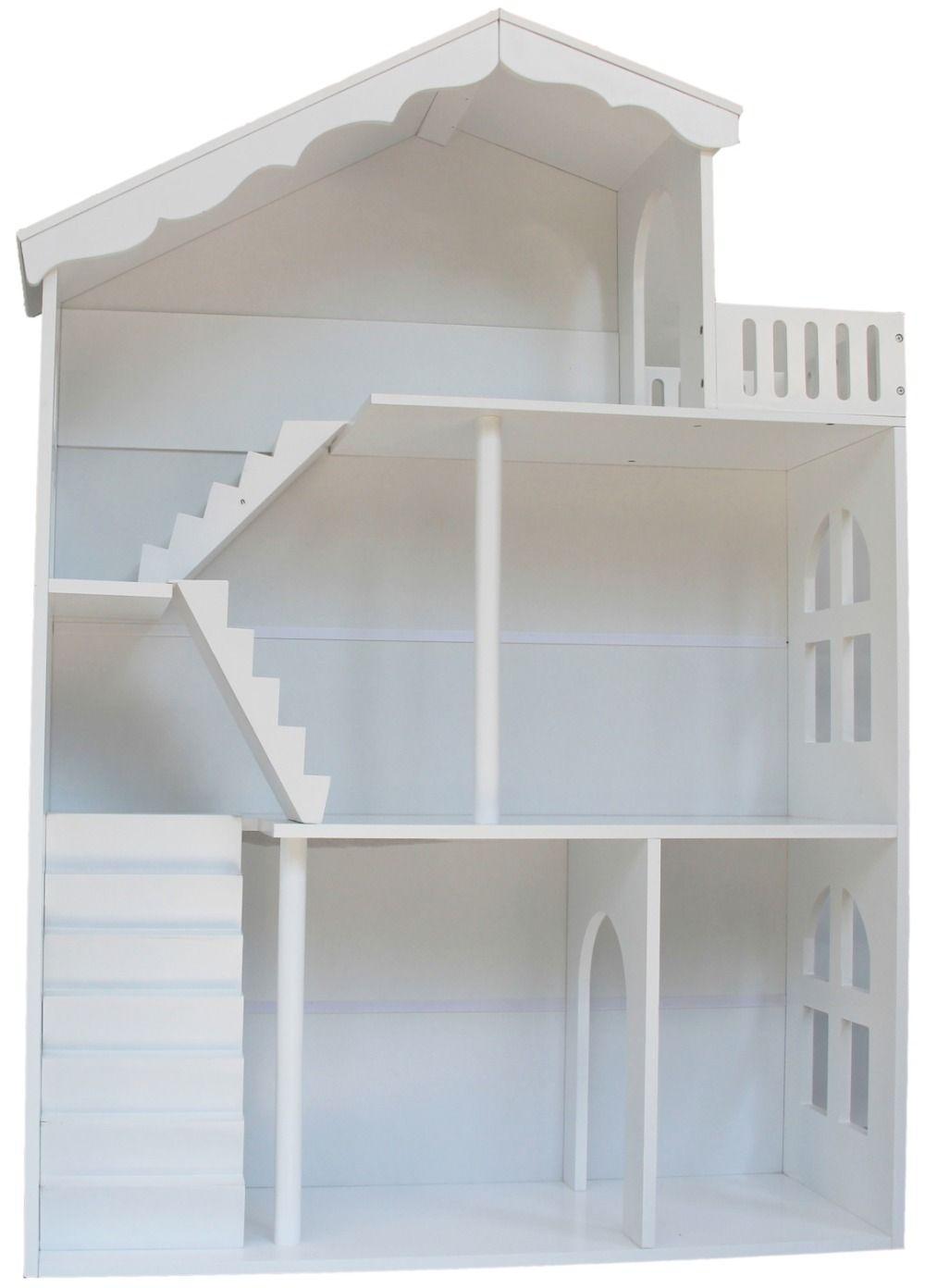 Mode en elegante witte houten poppenhuis boekenkast kinderen meubels ...